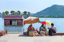 Unidentified street vendors sell food  in Jaipur, India. Stock Photography
