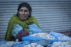Unidentified street woman vendor wearing traditional clothing in the local Rodriguez market, selling potatoes, in La Paz - Bolivia royalty free stock photography