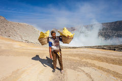 Unidentified Sulfur miners Royalty Free Stock Photos