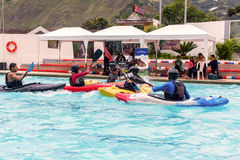 Ecuadorian Sports Guides Competes At The Canoeing Contest Stock Photography