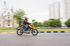 Unidentified test driver KTM Duke 200. BANGKOK - MAY 18,2014 : Unidentified test driver KTM Duke 200 in Duke me KTM Track and Test 2014 on May 18 at Motor Sport Royalty Free Stock Photos