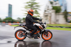 Unidentified test driver KTM Duke 390 Stock Photos