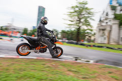 Unidentified test driver KTM Motard Stock Images
