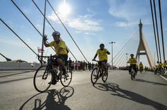 Unidentified Thai cyclists at Bike for the King event in Bangkok Royalty Free Stock Images