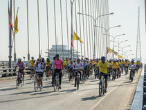 Unidentified Thai cyclists at Fly & Bike Thailand event Royalty Free Stock Photos