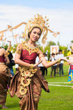 Unidentified thai dancers dancing.  Elephant polo games during the 2013 King 's Cup Elephant Polo match on August 28, 2013 at Suri Stock Photo