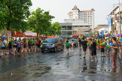 Unidentified Thai and International people enjoy in Songkran Festival 2016 Royalty Free Stock Image