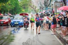 Unidentified Thai and International people enjoy in Songkran Festival 2016 Stock Photos