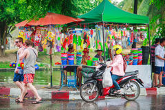 Unidentified Thai and International people enjoy in Songkran Festival 2016 Stock Photo