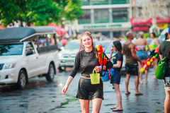 Unidentified Thai and International people enjoy in Songkran Festival 2016 Stock Images