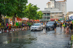 Unidentified Thai and International people enjoy in Songkran Festival 2016 Royalty Free Stock Images