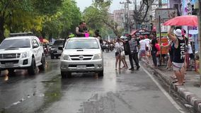 Unidentified Thai and International people enjoy in Songkran Festival 2016 stock video footage