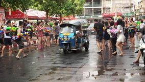 Unidentified Thai and International people enjoy in Songkran Festival 2016 stock video