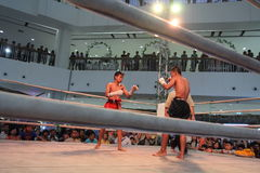 Unidentified Thai original boxing show in hall of shopping mall Royalty Free Stock Images