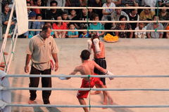 Unidentified Thai original boxing show in hall of shopping mall Stock Images