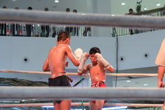Unidentified Thai original boxing show in hall of shopping mall Royalty Free Stock Photo