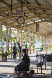 Unidentified thai passenger waiting for time to train at Nakhon Lampang Railway Station in Nakhon Lampang, Thailand. Stock Images
