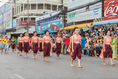 Unidentified thai people in the parade at annual festival Thao Suranaree monument Stock Photography