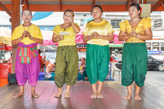 Unidentified thai people show traditional korat music in Thao Suranaree monument Royalty Free Stock Photo