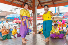 :Unidentified thai people show traditional korat music in Thao Suranaree monument Stock Images