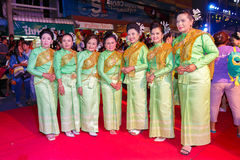 Unidentified thai people traditional dance in the parade at annual festival Thao Suranaree monument Royalty Free Stock Images