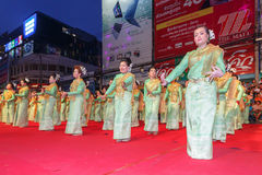 Unidentified thai people traditional dance in the parade at annual festival Thao Suranaree monument Stock Images