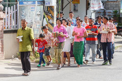 Unidentified Thai people in wedding parade Thailand. Royalty Free Stock Image