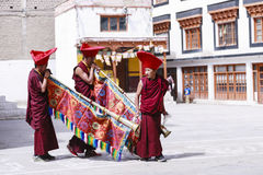 Unidentified tibetan buddhist monks play music for opening ceremony of the Hemis Festival Stock Photography
