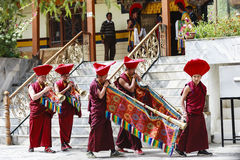 Unidentified tibetan buddhist monks play music for opening ceremony of the Hemis Festival Royalty Free Stock Photo
