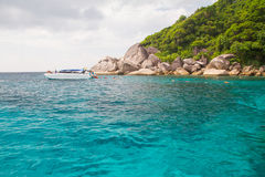 Unidentified Tourism swiming at the beaufiful islands. Similan Island,Phang Nga,Thailand - December 17,2013 :Unidentified Tourism swiming at the beaufiful Stock Images