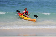 Unidentified tourist enjoying sea kayak at Bavaro Beach in Punta Cana Stock Photography