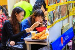 Unidentified tourist having dinner at Ameya Yokocho the famous shopping area of Ueno District, Tokyo. Royalty Free Stock Photos