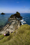 Unidentified tourist taking photo of amazing view Kapas Island located in Terengganu,Malaysia Stock Images