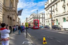 Unidentified tourists in central part of the city. London. UK Stock Image