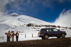 Unidentified tourists in Cotopaxi volcano, one of Stock Image