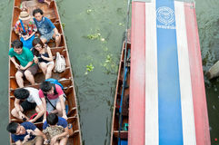 Unidentified tourists enjoy  traveling on the boat at Damoen Sad Royalty Free Stock Images