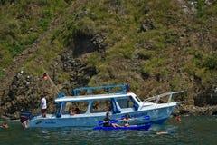 Unidentified tourists enjoying a daytrip kayaking Stock Image