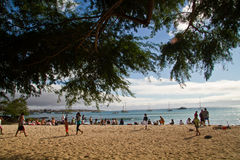 Unidentified tourists enjoying in Mann Beach, San Royalty Free Stock Photos
