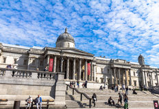 Unidentified  tourists near  National Gallery in Trafalgar Square, London . UK Royalty Free Stock Photos