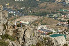 Costa del Sol seen from the peak of Mount Calamorro, the highest Royalty Free Stock Photo