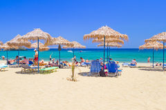 Relax on Vai beach of Crete, Greece Royalty Free Stock Photography