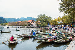 Unidentified tourists in Trang An. Trang An is the scenic area, ranked special of Vietnam. NINH BINH, VIETNAM- MARCH01,2015: Unidentified tourists in Trang An Stock Images