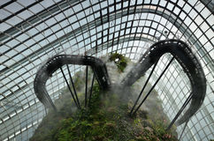 Unidentified tourists visit Cloud Forest in  Gardens by the Bay, Royalty Free Stock Photos
