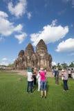 Unidentified tourists visit Phra Prang Sam Yot temple in Lopbur Stock Photos