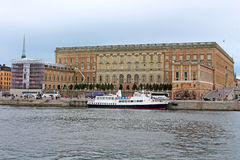 Unidentified tourists visit Royal Palace in Stockholm, Sweden stock photos
