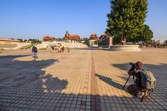 Unidentified tourists visit to see and take picture of Laozi sta Stock Images
