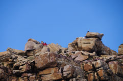 Unidentified tourists visit the top at Cape of Good Hope. Stock Images