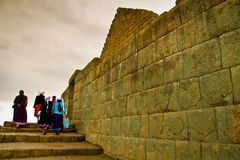 Unidentified tourists visiting Ingapirca important Royalty Free Stock Photography