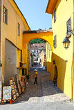 Unidentified tourists walking in historic town Sighisoara on July 08, 2015. Royalty Free Stock Photos
