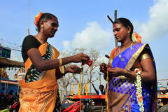 Transgenders participate in their traditional festival. Unidentified transgenders who have participated in the marriage ritual during festival of transgenders Royalty Free Stock Photo